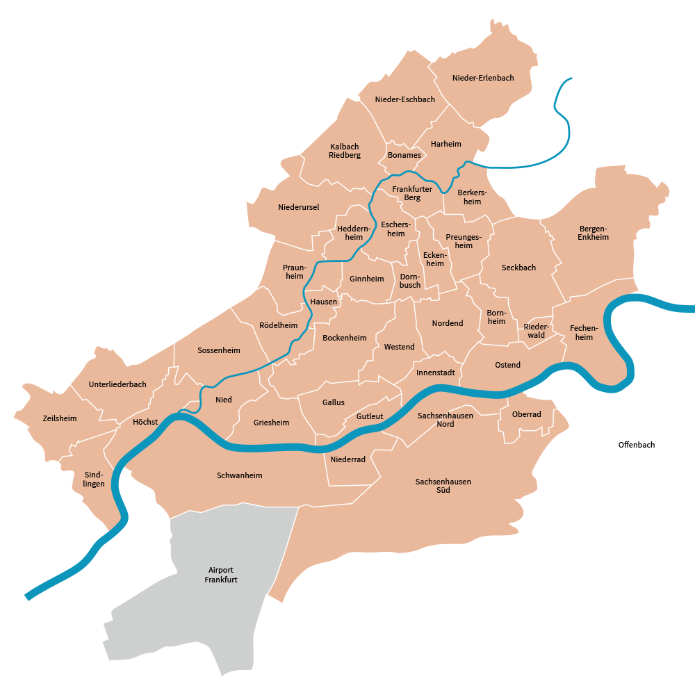 District map of Frankfurt